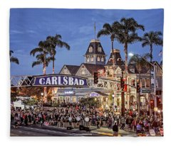 Carlsbad Village Sign Lighting Fleece Blanket