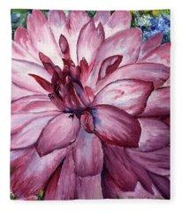 Carmine Dahlia Fleece Blanket