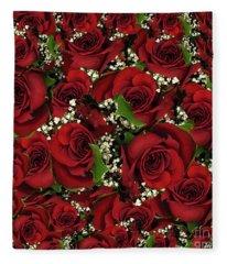 Carmine Roses Fleece Blanket