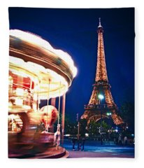 Carousel And Eiffel Tower Fleece Blanket