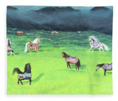 Carousel Horse Retirement Fleece Blanket