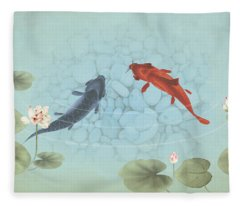 Carp In Lily Pond Fleece Blanket