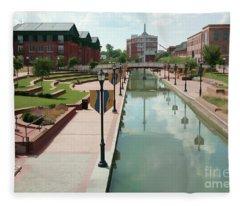 Carroll Creek Park In Frederick Maryland With Watercolor Effect Fleece Blanket