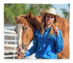 Carrots,cowgirls And Horses  Fleece Blanket