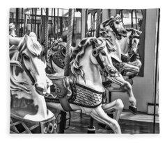 Carrousel Horses In Black And White Fleece Blanket