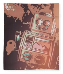 Cartoon Cyborg Robot Fleece Blanket