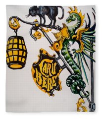 Caru Cu Bere - Antique Shop Sign Fleece Blanket