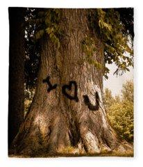 Carve I Love You In That Big White Oak Fleece Blanket