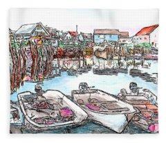 Carvers Harbour With Boats , Vinal Haven,  Maine Fleece Blanket