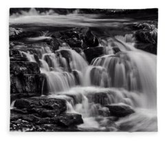 Cascade In Black And White Fleece Blanket