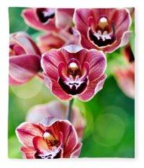 Cascading Miniature Orchids Fleece Blanket