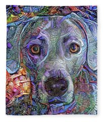 Cash The Blue Lacy Dog Closeup Fleece Blanket