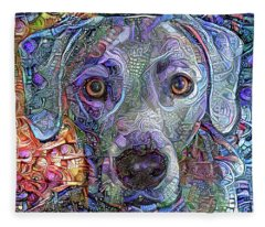 Cash The Blue Lacy Dog Closeup Fleece Blanket