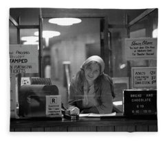Cashier, Devon Theatre, 1979 Fleece Blanket