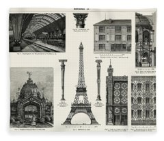 Cast - Iron Architecture, Eiffel Tower Fleece Blanket