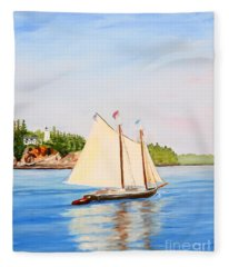 Castine Harbor And Dice Head Light Fleece Blanket
