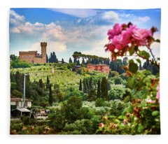 Castle And Roses In Firenze Fleece Blanket
