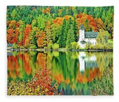 Castle On The Lake, Lake District, Salzburg, Austria Fleece Blanket