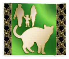 Cat And Family Fleece Blanket