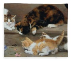 Cat And Kittens Chasing A Mouse   Fleece Blanket