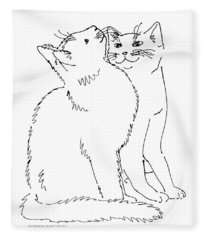 Cat-art-curious Fleece Blanket
