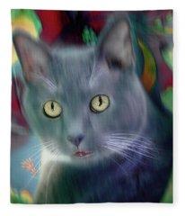 Cat Boticas Portrait 2 Fleece Blanket