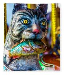 Cat Carrousel With Fish Fleece Blanket
