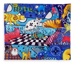 Cat Cocktail - Cat Art By Dora Hathazi Mendes Fleece Blanket