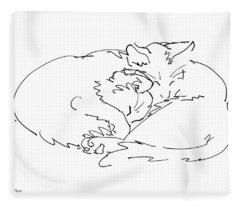 Cat Drawings 2 Fleece Blanket