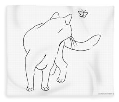 Cat-drawings-black-white-2 Fleece Blanket