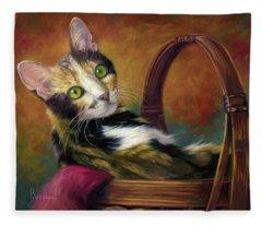 Cat In The Basket Fleece Blanket