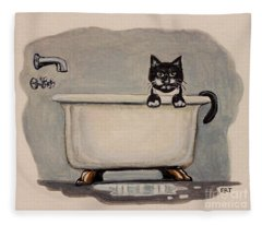 Cat In The Bathtub Fleece Blanket