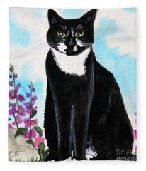 Cat In The Garden Fleece Blanket