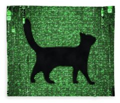 Fleece Blanket featuring the digital art Cat In The Matrix Black And Green by Matthias Hauser
