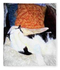 Cat Nap - Zen And The Art Of Washing Fleece Blanket