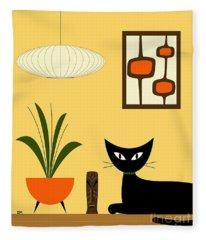 Cat On Tabletop With Mini Mod Pods 3 Fleece Blanket