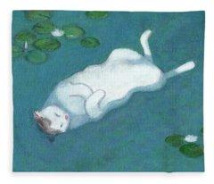 Cat On Vacation Fleece Blanket