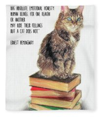 Cat Quote By Ernest Hemingway Fleece Blanket