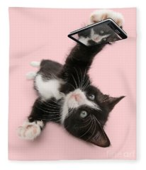 Cat Selfie Fleece Blanket