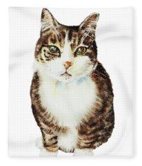 Cat Watercolor Illustration Fleece Blanket