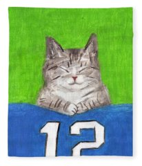 Cat With 12th Flag Fleece Blanket