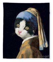 Cat With A Pearl Earring Fleece Blanket