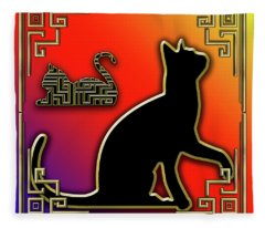 Cat With Art Deco Border Fleece Blanket
