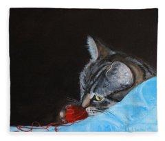 Cat With Red Yarn Fleece Blanket