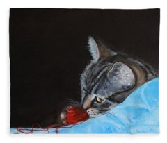 Cat With Red Yarn Fleece Blanket
