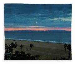 Catalina Island In Pink - Panorama Fleece Blanket