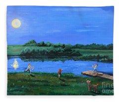 Catching Fireflies By Moonlight Fleece Blanket