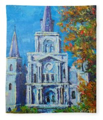 Cathedral In Autumn Fleece Blanket