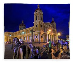 Cathedral Of Granada Shines Brightly Fleece Blanket