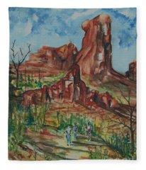 Hiking Cathedral Rock,  Sedona, Az. Fleece Blanket